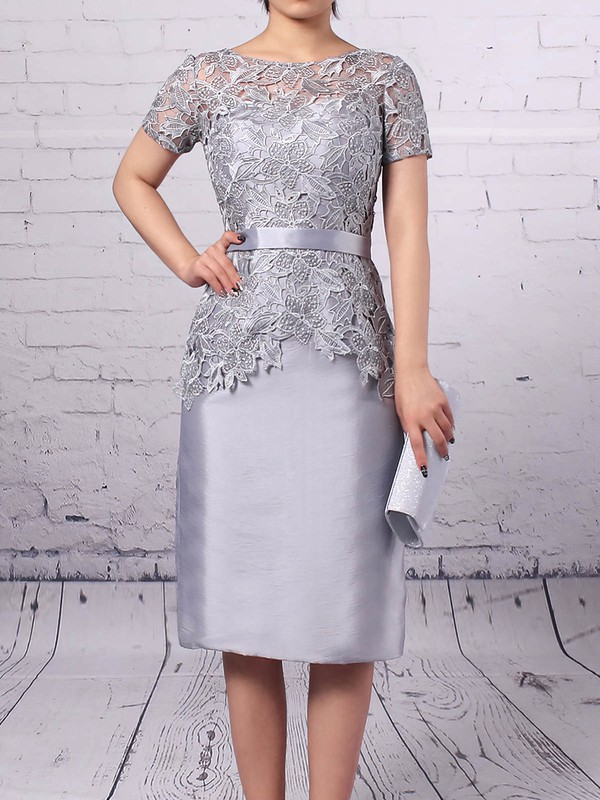 Sheath/Column Scoop Neck Lace Taffeta Knee-length Sashes / Ribbons Mother of the Bride Dresses #PDS01021667