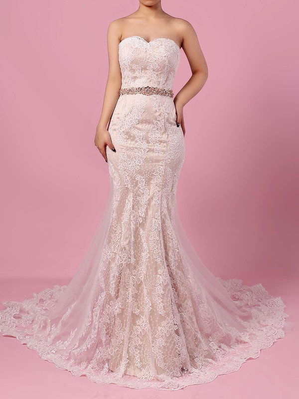 Trumpet/Mermaid Sweetheart Lace Tulle Watteau Train Sashes / Ribbons Wedding Dresses #PDS00023140