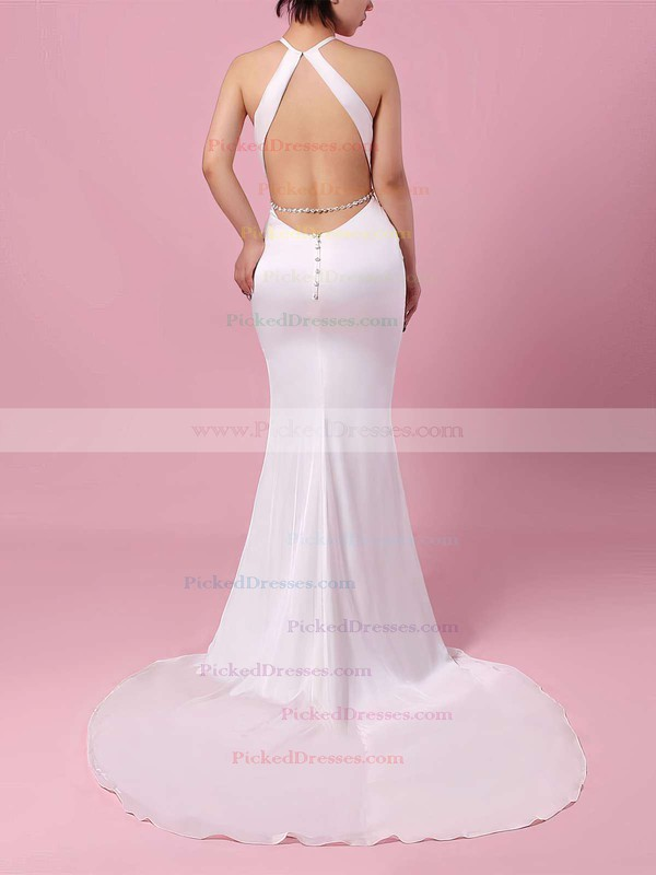 Trumpet/Mermaid Scoop Neck Chiffon Sweep Train Sashes / Ribbons Wedding Dresses #PDS00023145
