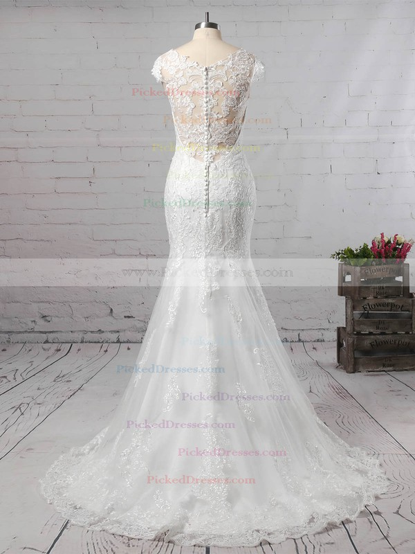 Trumpet/Mermaid V-neck Tulle Sweep Train Appliques Lace Wedding Dresses #PDS00023187