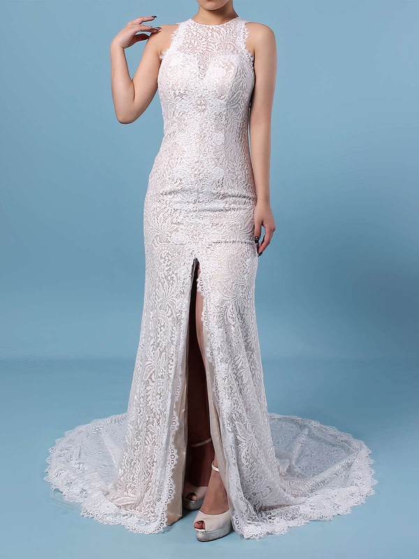 Sheath/Column Scoop Neck Lace Sweep Train Split Front Wedding Dresses #PDS00023287