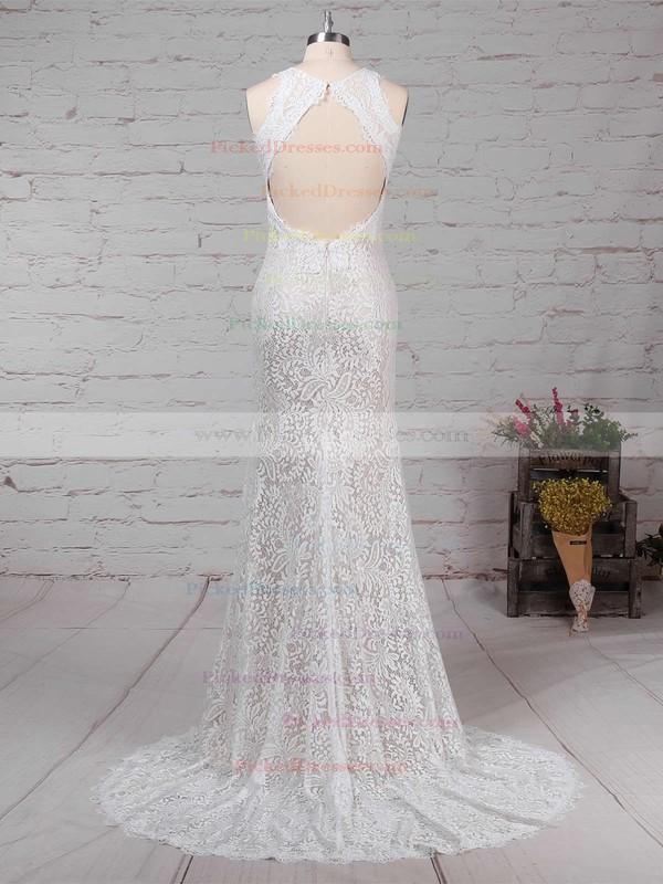 Sheath/Column Scoop Neck Lace Sweep Train Split Front Wedding Dresses #PDS00023287