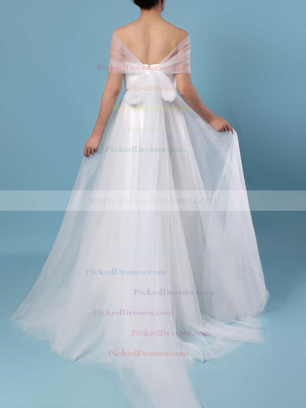 A-line Strapless Tulle Sweep Train Ruffles Wedding Dresses #PDS00023347