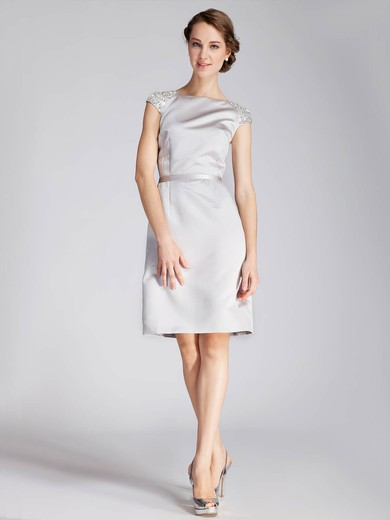Satin A-line Bateau Knee-length Beading Bridesmaid Dresses #PDS02013672