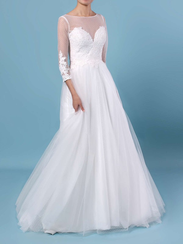 A-line Scoop Neck Tulle Floor-length Appliques Lace Wedding Dresses #PDS00023348