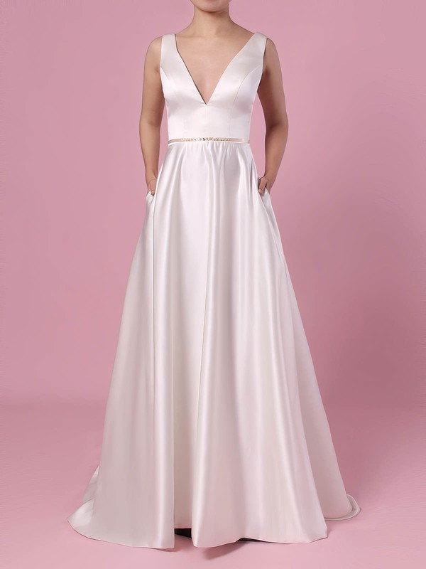 A-line V-neck Satin Sweep Train Beading Wedding Dresses #PDS00023350
