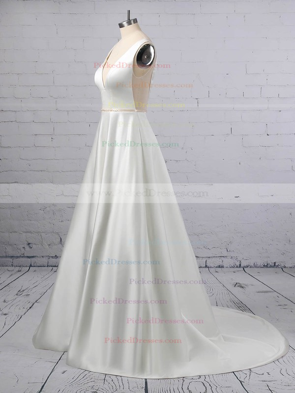 A-line V-neck Satin Sweep Train Beading Wedding Dresses #PDS00023350