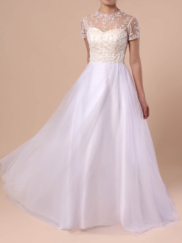 Princess Scoop Neck Tulle Sweep Train Beading Wedding Dresses #PDS00023351