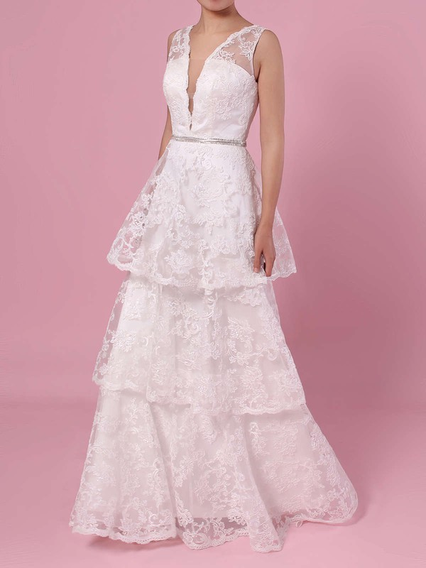 A-line V-neck Lace Sweep Train Beading Wedding Dresses #PDS00023353