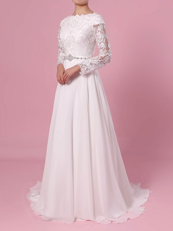 A-line Scoop Neck Lace Chiffon Sweep Train Beading Wedding Dresses #PDS00023355