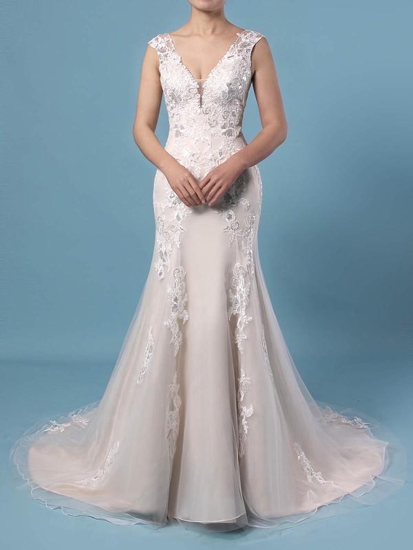 A-line V-neck Tulle Sweep Train Appliques Lace Wedding Dresses #PDS00023356