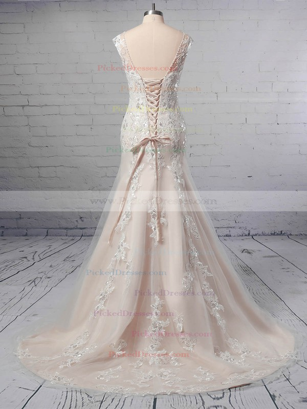 A-line V-neck Tulle Sweep Train Appliques Lace Wedding Dresses #PDS00023356