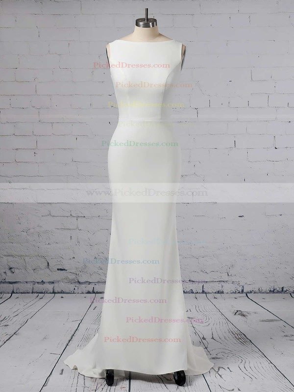 Sheath/Column Scoop Neck Satin Chiffon Sweep Train Wedding Dresses #PDS00023357