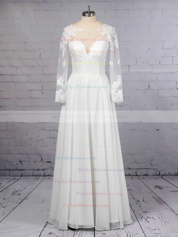 A-line Scoop Neck Chiffon Tulle Floor-length Beading Wedding Dresses #PDS00023359