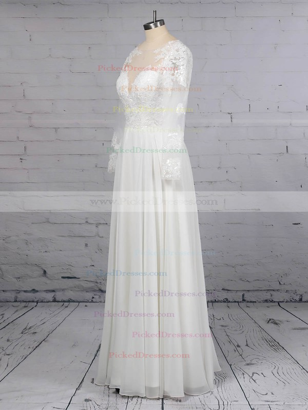 A-line Scoop Neck Chiffon Tulle Floor-length Beading Wedding Dresses #PDS00023359