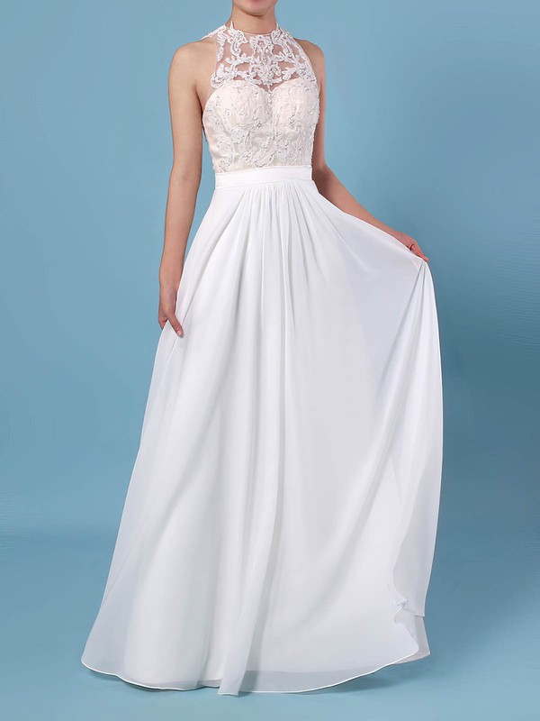 A-line Scoop Neck Chiffon Tulle Floor-length Beading Wedding Dresses #PDS00023360