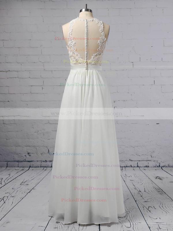 A-line Scoop Neck Chiffon Tulle Floor-length Beading Wedding Dresses #PDS00023360