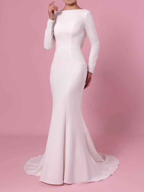 Trumpet/Mermaid Scoop Neck Silk-like Satin Sweep Train Wedding Dresses #PDS00023362