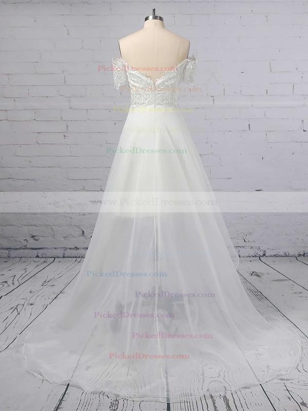A-line Off-the-shoulder Organza Asymmetrical Appliques Lace Wedding Dresses #PDS00023363