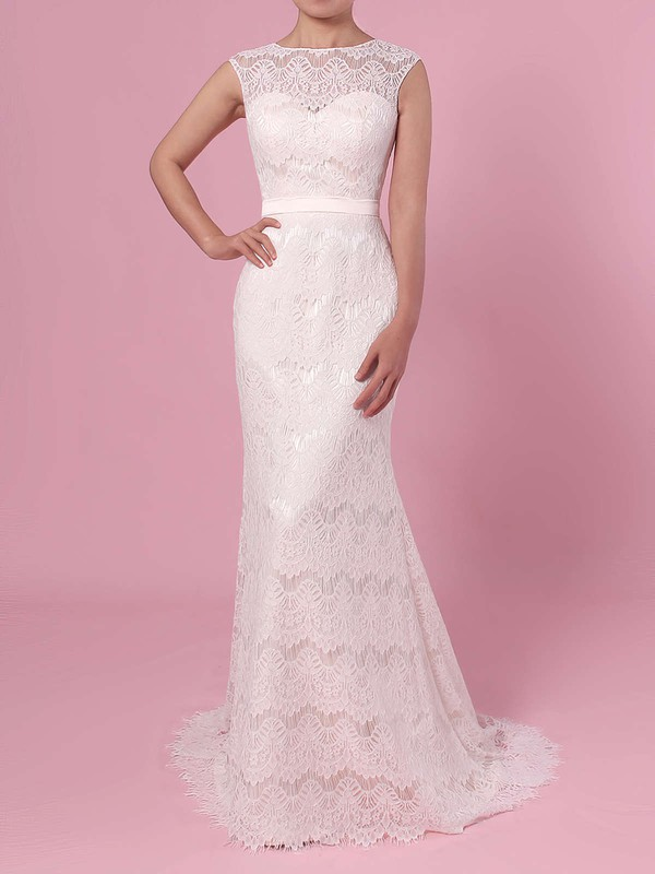 Trumpet/Mermaid Scoop Neck Lace Floor-length Sashes / Ribbons Wedding Dresses #PDS00023364