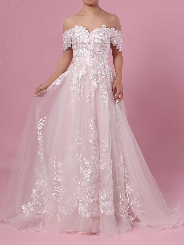 A-line Off-the-shoulder Tulle Sweep Train Appliques Lace Wedding Dresses #PDS00023365
