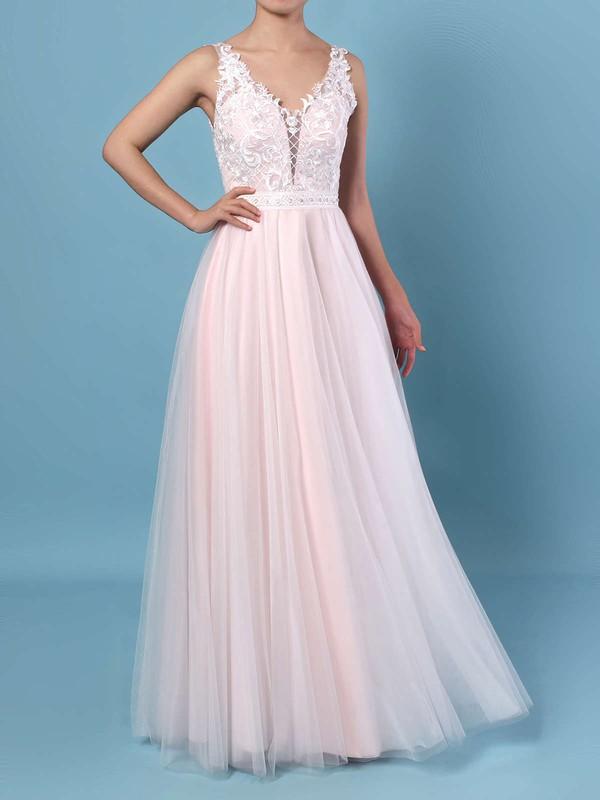 A-line V-neck Tulle Floor-length Beading Wedding Dresses #PDS00023366