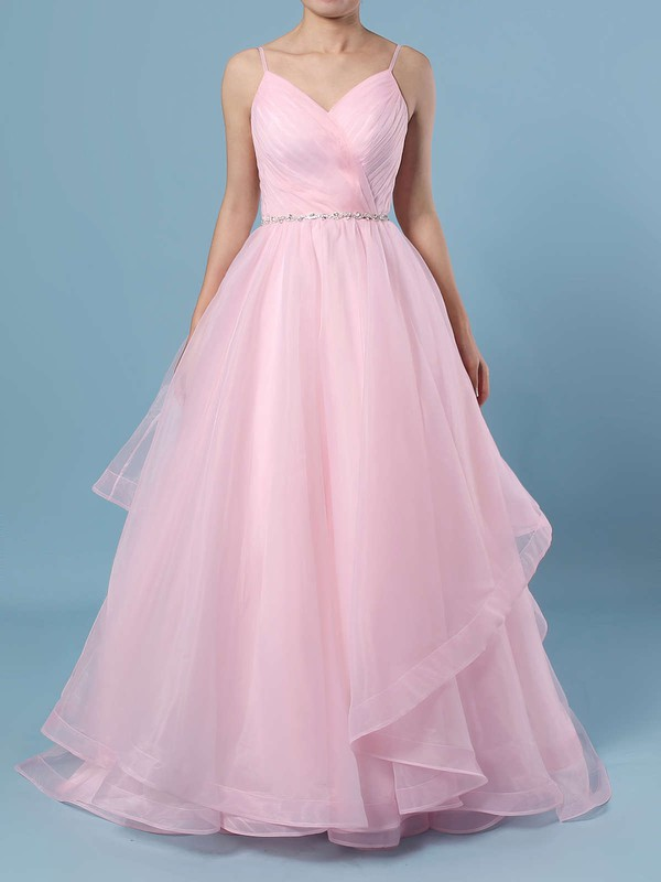 Ball Gown V-neck Organza Sweep Train Beading Wedding Dresses #PDS00023367