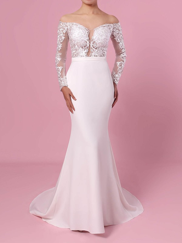 Trumpet/Mermaid Off-the-shoulder Tulle Satin Chiffon Sweep Train Appliques Lace Wedding Dresses #PDS00023368