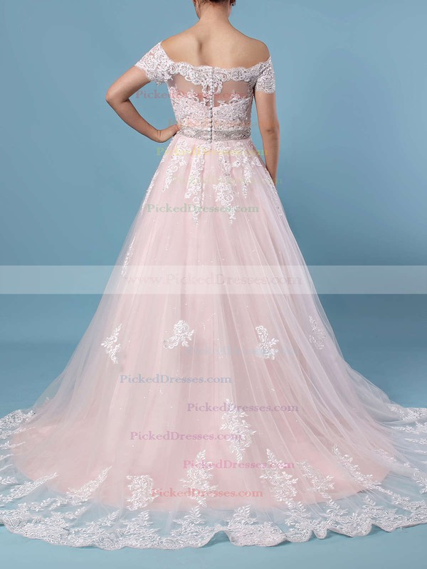 Ball Gown Off-the-shoulder Tulle Sweep Train Beading Wedding Dresses #PDS00023369