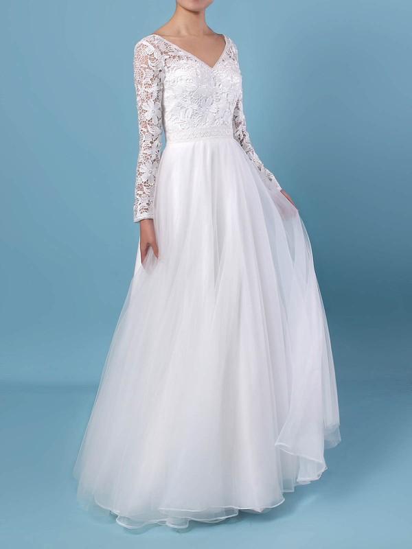 A-line V-neck Lace Tulle Floor-length Wedding Dresses #PDS00023370