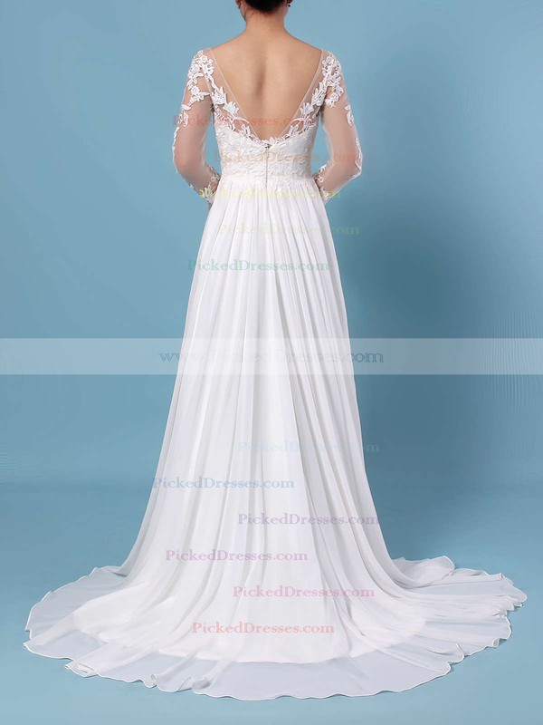 A-line V-neck Chiffon Tulle Sweep Train Appliques Lace Wedding Dresses #PDS00023371