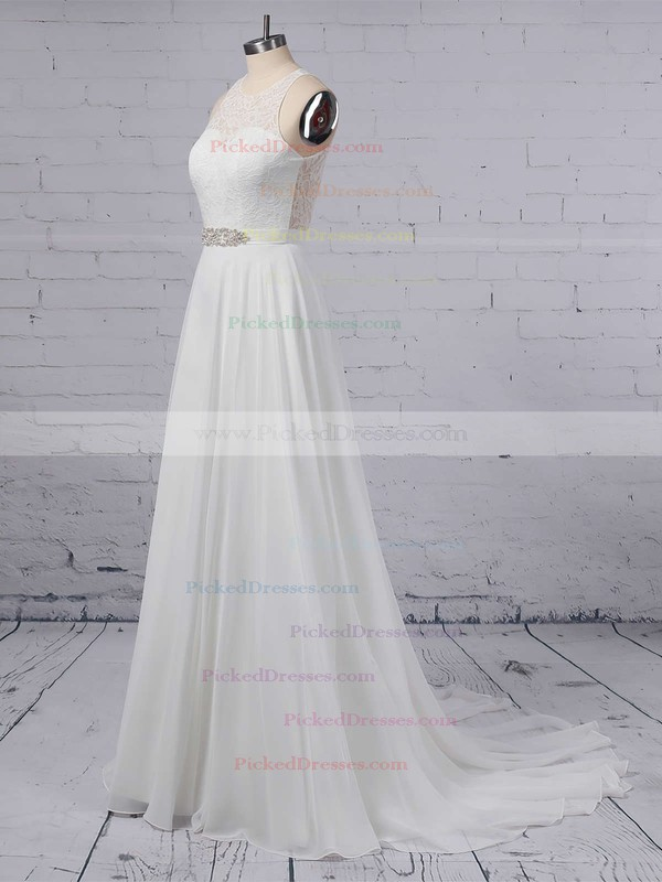 A-line Scoop Neck Lace Chiffon Floor-length Sashes / Ribbons Wedding Dresses #PDS00023372