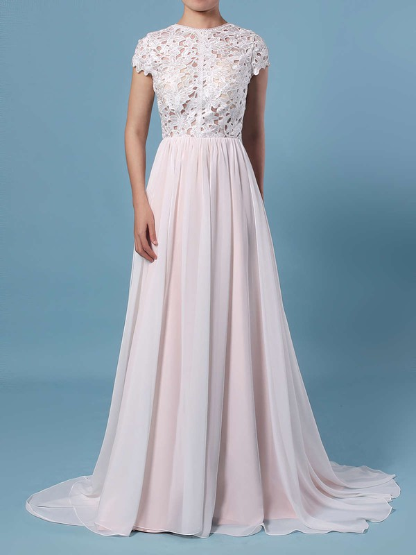 A-line Scoop Neck Lace Chiffon Floor-length Wedding Dresses #PDS00023373