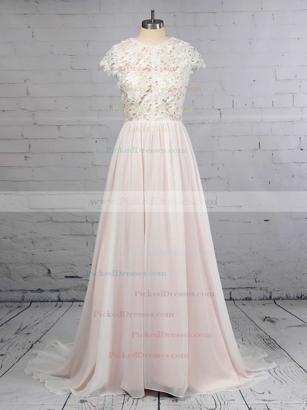 A-line Scoop Neck Lace Chiffon Floor-length Wedding Dresses #PDS00023373
