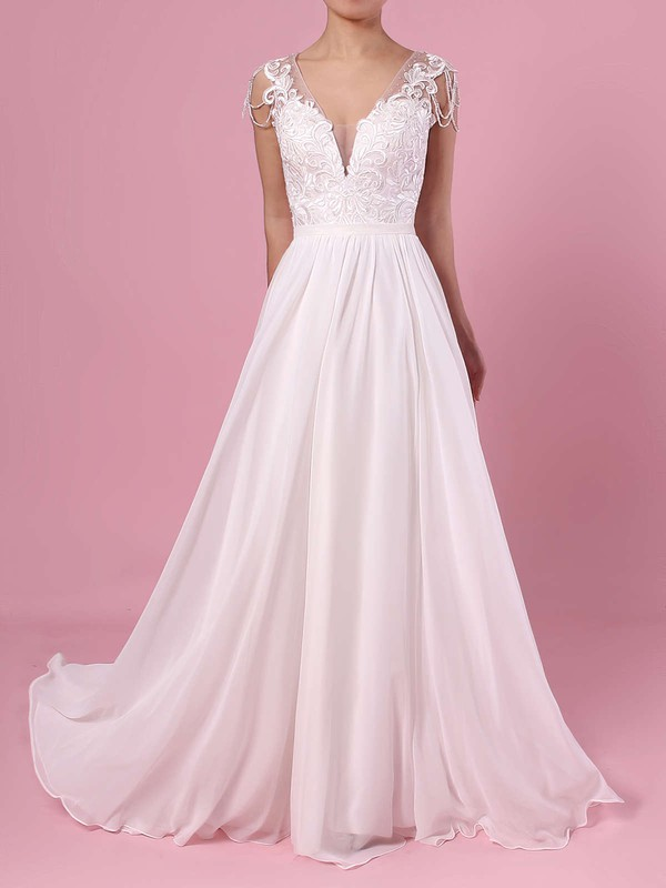 A-line V-neck Chiffon Tulle Sweep Train Beading Wedding Dresses #PDS00023374