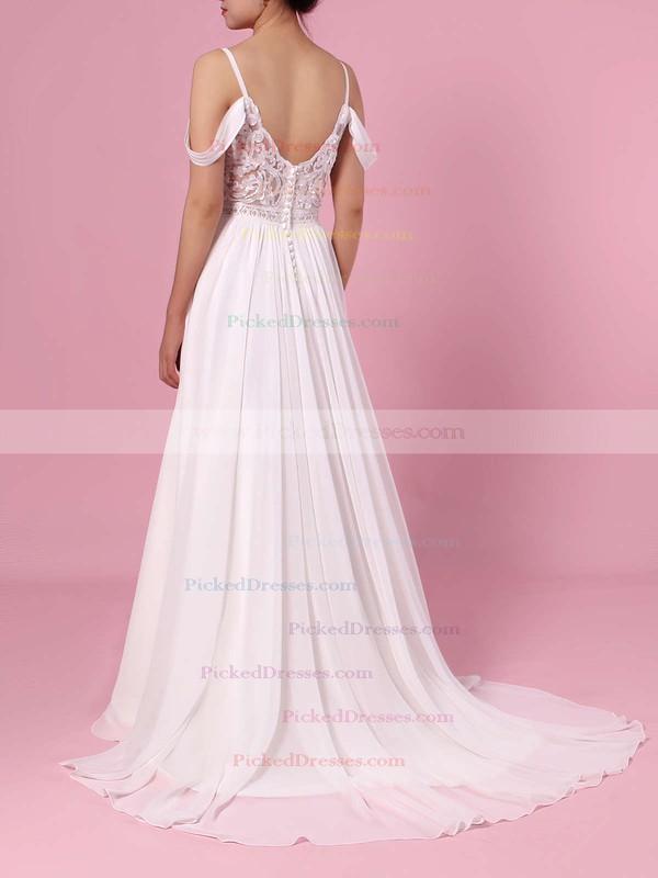 A-line V-neck Chiffon Sweep Train Lace Wedding Dresses #PDS00023377