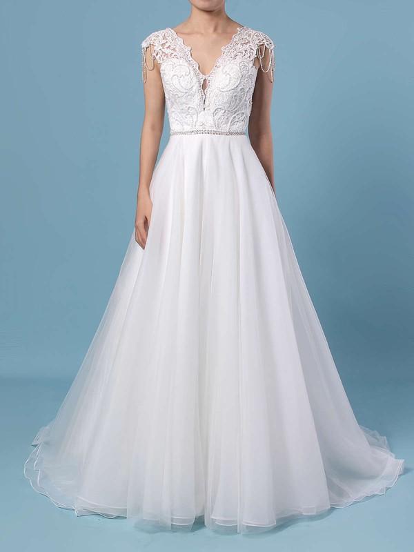 Princess V-neck Tulle Sweep Train Appliques Lace Wedding Dresses #PDS00023380