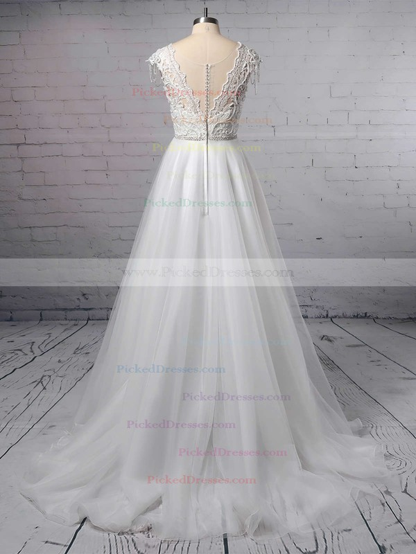 Princess V-neck Tulle Sweep Train Appliques Lace Wedding Dresses #PDS00023380