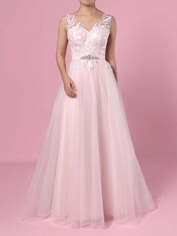 Princess V-neck Tulle Sweep Train Appliques Lace Wedding Dresses #PDS00023381