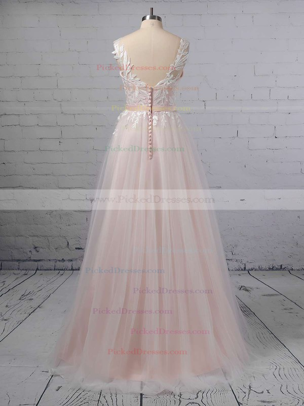 Princess V-neck Tulle Sweep Train Appliques Lace Wedding Dresses #PDS00023381