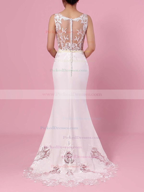 Trumpet/Mermaid V-neck Tulle Silk-like Satin Sweep Train Embroidered Wedding Dresses #PDS00023387