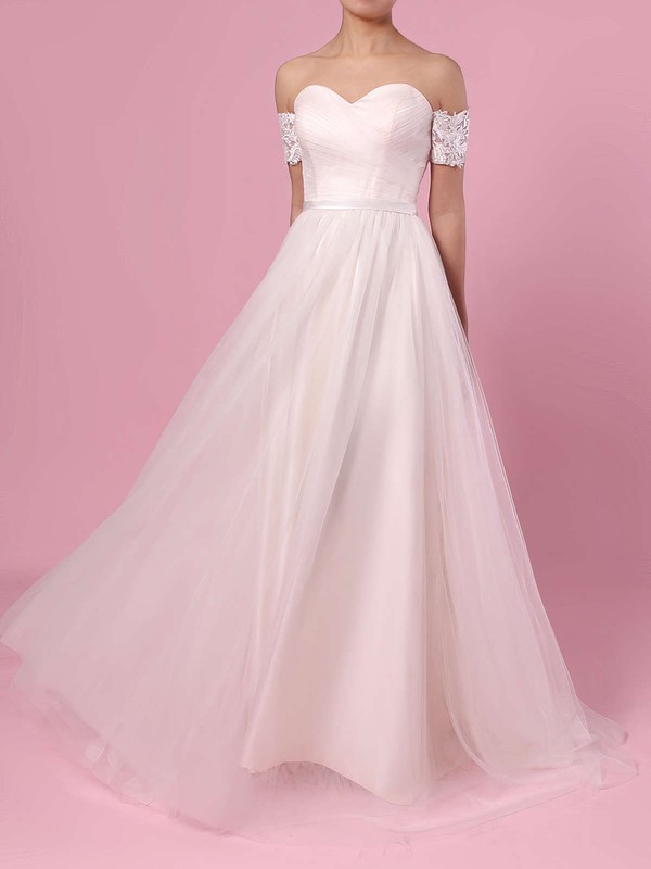 Princess Off-the-shoulder Tulle Sweep Train Sashes / Ribbons Wedding Dresses #PDS00023388