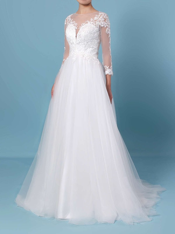 Princess Scoop Neck Tulle Sweep Train Appliques Lace Wedding Dresses #PDS00023389