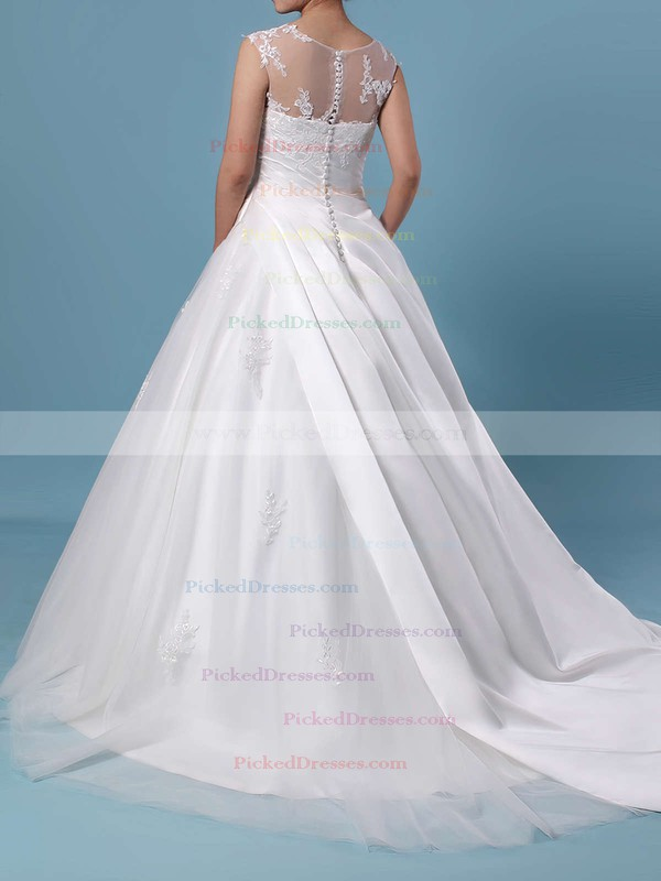Ball Gown Scoop Neck Tulle Sweep Train Appliques Lace Wedding Dresses #PDS00023390