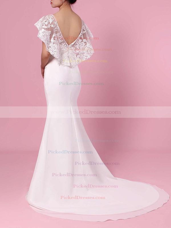 Trumpet/Mermaid Scoop Neck Lace Chiffon Sweep Train Appliques Lace Wedding Dresses #PDS00023391