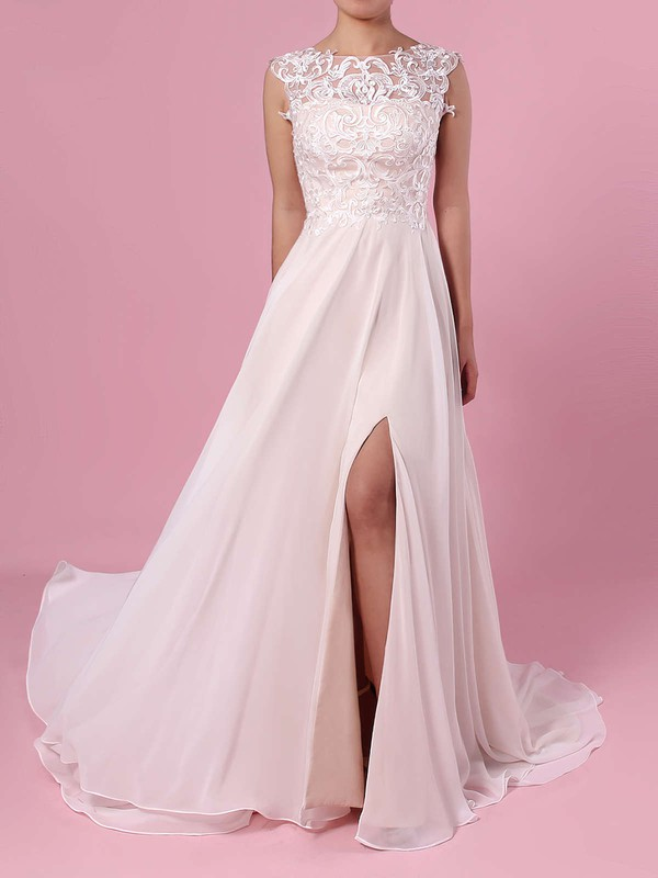 A-line Scoop Neck Chiffon Tulle Sweep Train Split Front Wedding Dresses #PDS00023392
