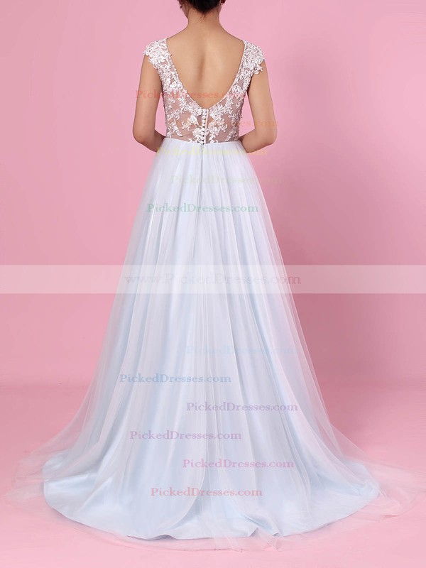 A-line V-neck Tulle Sweep Train Appliques Lace Wedding Dresses #PDS00023394