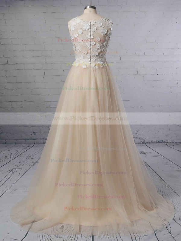 A-line Scoop Neck Lace Tulle Sweep Train Appliques Lace Wedding Dresses #PDS00023395