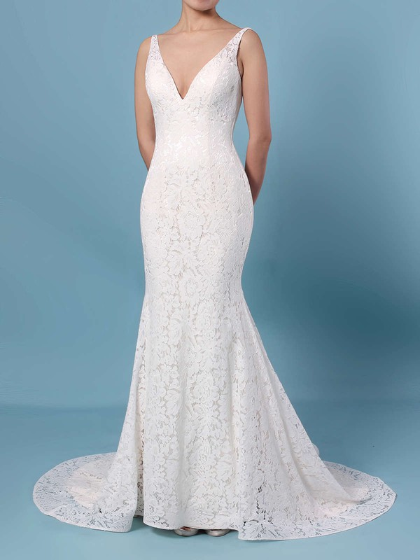 Trumpet/Mermaid V-neck Lace Sweep Train Wedding Dresses #PDS00023398