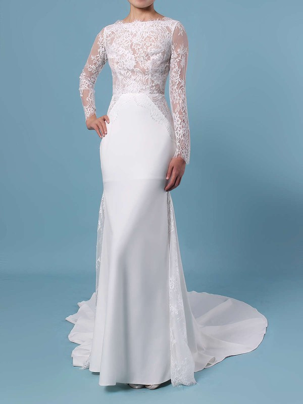 Trumpet/Mermaid Scalloped Neck Lace Silk-like Satin Sweep Train Appliques Lace Wedding Dresses #PDS00023401